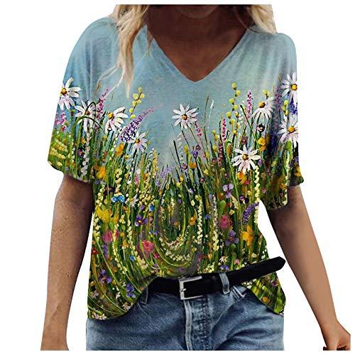 Ebsuk Oberteile Damen Sommer Locker Teenager Mädchen Lustig Bunt Tie-Dye T-Shirts Frauen V-Ausschnitt Retro 3D Kurzarm Lässig Tshirt Top Hemd Bluse Teenager Mädchen