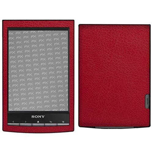 atFoliX Skin Compatibile con Sony PRS-T1 Reader, Sticker Pelle (FX-Leather-Red), Struttura in Pelle Pregiata