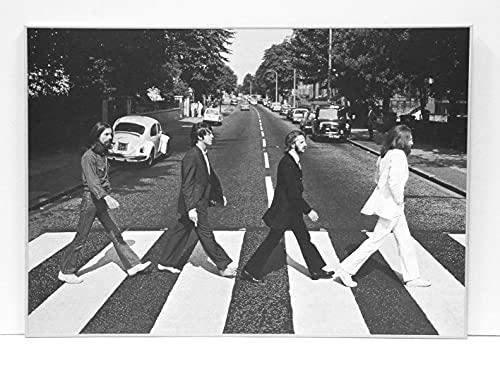 BaikalGallery Beatles Abbey Road Cuadro Enmarcado TAMAÑO 70X100cm (P1052) Moldura de Aluminio Mate Color Plata - Montaje en Panel Adhesivo (Foam)- Laminado en Mate (Sin Cristal)