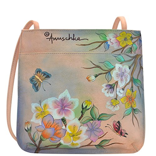 Anuschka Quirky Handpainted Mini Cross Body Bag, Japanese Garden