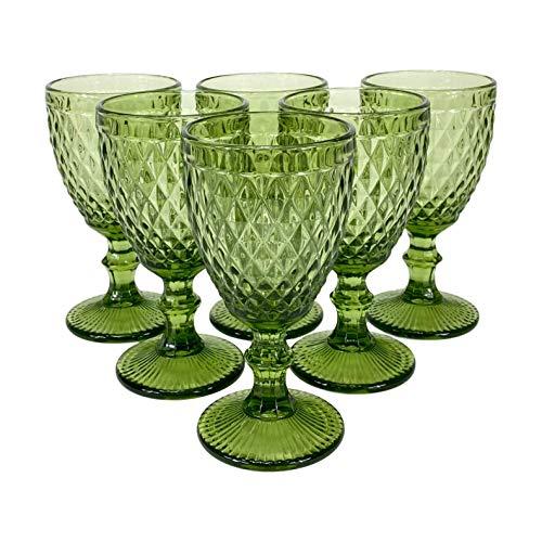 Homevibes Juego/Set de 6 Copas De Vino Color Verde, Diseño Retro, Cristaleria De Calidad, 9 x 17cm, Muy resistente