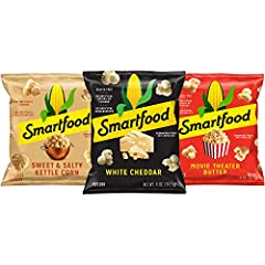 Includes (20) 0.5 ounce Bags of White Cheddar popcorn, (12) 0.5 oz bags of Sweet and Salty Kettle Corn, and (8) bags of Movie Theater Butter popcorn 100% Whole Grain Air Popped Popcorn No artificial colors, flavors or preservatives Packaging may vary