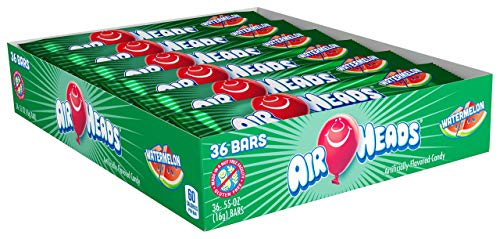 Airheads Candy, Individually Wrapped Full Size Bars, Watermelon, Bulk Taffy, Non Melting, Party, 0.55 oz (Pack of 36)