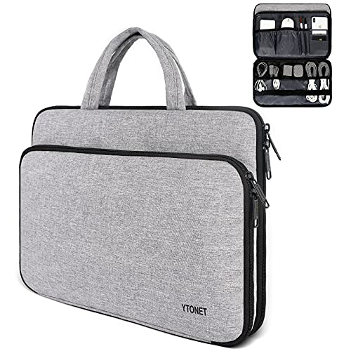 Laptop Case, 13.3 inch Laptop Sleeve, Laptop Carrying Case Water Resistant Laptop Protective Case with with Accessory Pocket for 13-13.3 inch Microsoft, MacBook Air, HP Dell Notebook, Grey