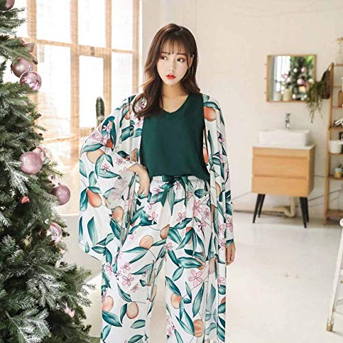 Handaxian 4 Stück Damen Schlafanzug Komfortabler Satin Eleganter Druck Schlafanzug Mantel + Weste + Hose + Shorts Home Service Dargestellt M