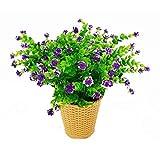 LERT Fleurs d'eucalyptus Artificielles, Bouquet de Fleurs de Plantes Artificielles de Verdure, Fleurs de Décoration en Plastique pour Jardin/Maison/Mariage/Fête, 4 pièces (Violet)