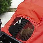 PawHut Folding Pet Stroller 3 Wheel Dog Jogger Travel Carrier Adjustable Canopy Storage Brake Mesh Window for Small Medium Dog Cat Red 17