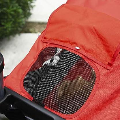 PawHut Folding Pet Stroller 3 Wheel Dog Jogger Travel Carrier Adjustable Canopy Storage Brake Mesh Window for Small Medium Dog Cat Red 8