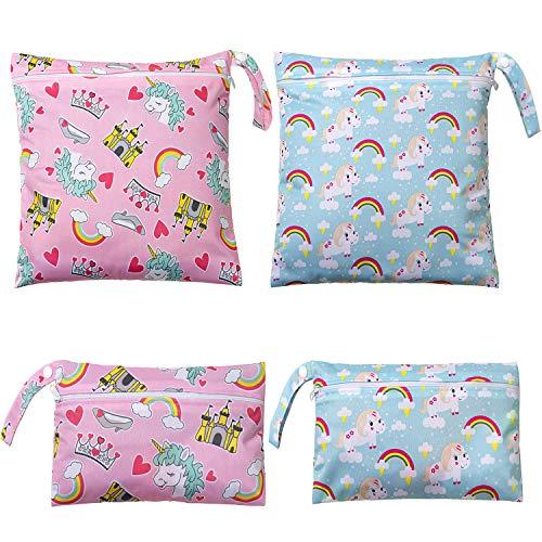 Bolsa Pañales, Comius Sharp 4 Piezas Bolsa de Pañales Reutilizable, Impermeable Organizador Pañales Bebe Bolsas Pañales, Bolsa para la Ropa de Bebé para pañales, ropa sucia y más (A)