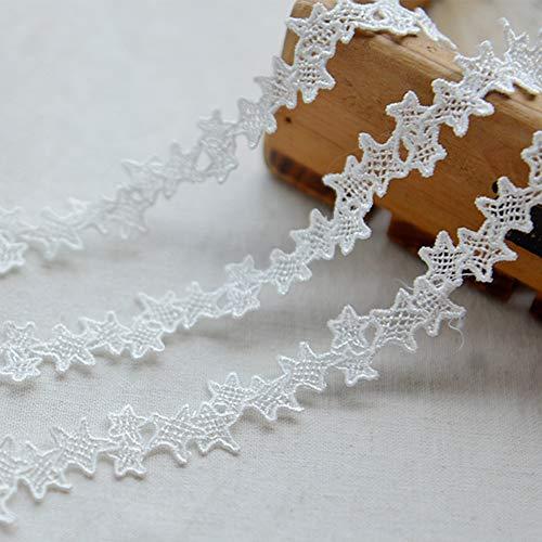 DAHI spitse band 15 yard kant kant voor choker halskettingen naaien handwerk bruiloft decoratie scrapbooking geschenkdoos Wit-sterren