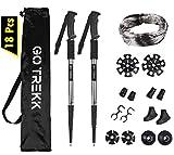 GO TREKK 2 Bastones de Senderismo Profesionales 60~135 cm+ Accesorios múltiples + Bandana...