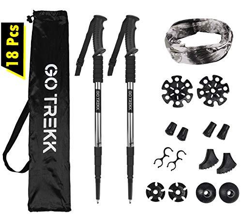 GO TREKK 2 Bastones de Senderismo Profesionales 60~135 cm+ Accesorios múltiples +...