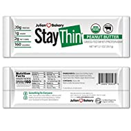 Julian Bakery Stay Thin Protein Bar (Certified Organic) 12 Gluten-Free Bars) (20g Grass-Fed Whey Protein) (2 Net Carbs)(4 Ingredients)(1g Sugar)
