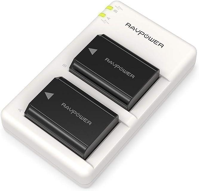 NP-FW50 Cargador Bateria RAVPower para Sony de 1100mAh de 2 Batería Recargable Cpmpatible con Sony a6000 / a6300 / a6000 /a6500/ a6400 a7 II / a7s II NEX 5 / 5N/5T etc