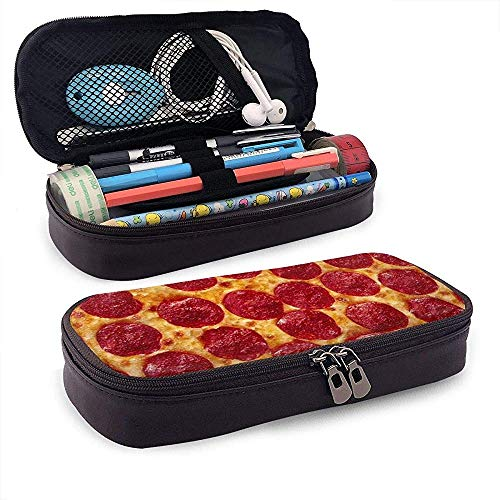 Baked Sausage Pizza Leather Pencil Case with Zipper,Microfiber Pu Leather Pencil Holder College Office Pen Case Pouch Unisex
