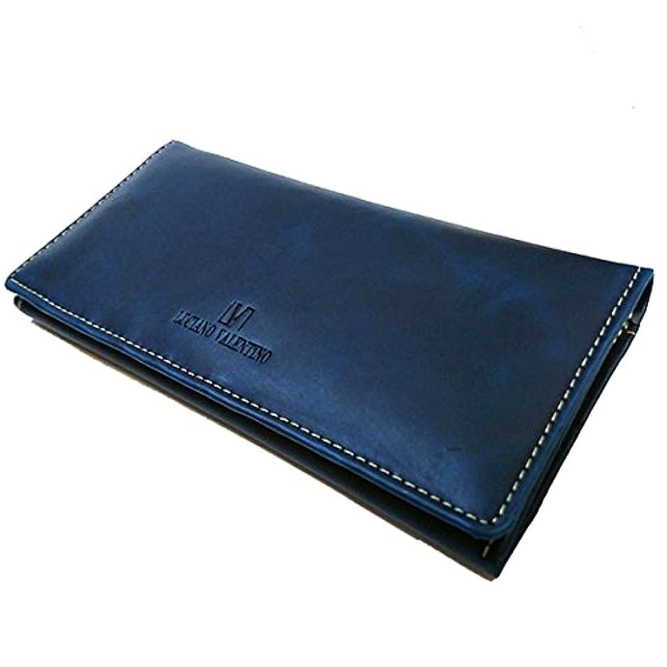 緩やかな入口流出「おめでとう!」にこの一本!デキる男の牛革スタンダード長財布 [ LUCIANO VALENTINO ] 誕生日プレゼント 人気ブランド 財布 メンズ (ネイビー)