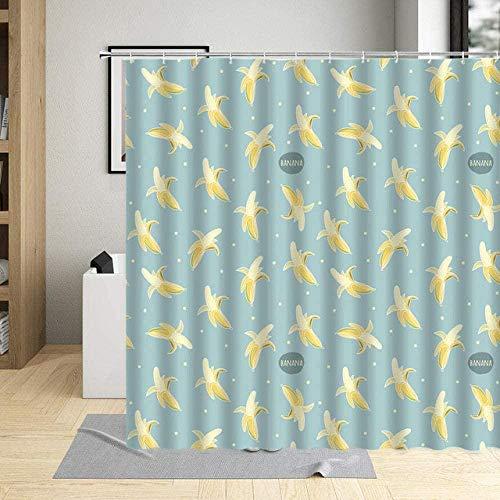 Cartoon Obst Wasserdicht Badezimmer Dekor Banane Wassermelone Avocado Druck Duschvorhang Polyester Stoff Gardinen mit Haken-5_180x180cm