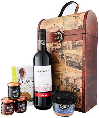 The Clarendon Vintage Wooden Wine Chest Gift Hamper with 750ml Versare Shiraz Red Wine - Gift Ideas for Valentines, Mother's Day, Birthday, Anniversary, Business and Corporate