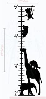 Zoo Animals Growth Chart Vinyl Decals Children Room Wall Sticker 11x37-Inch Black