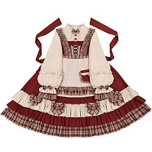 CHENJUNAMZ Palacio Princesa Vintage Sweet Lolita Vestido Bowknot Stand Lantern Sleeve Victorian Vestido Kawaii Vestido de Vestir (Color : Op and Apron, Size : S)