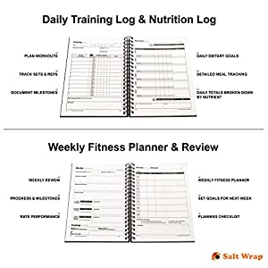 SaltWrap Daily Fitness Planner - Gym Workout Training Log, Weightlifting Exercise Journal, and Food/Diet Tracker - Daily and Weekly Pages, Goal Tracking, Spiral-Bound, 7 x 10 inches