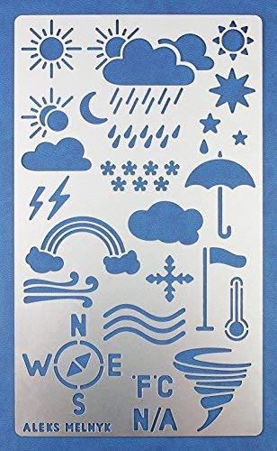 Aleks Melnyk #14 Schablone/Metall Stencil Vorlagen for Painting/Wettervorhersage, Symbole/1 Stück/DIY Kunst Projekte/Stencil für Scrapbooking und Zeichnen/Brandmalerei Schablone/Basteln