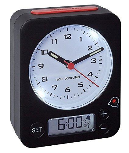 TFA-Dostmann Funk-Wecker Combo TFA 60.1511 Reisewecker Analogwecker (schwarz-rot mit Batterien)