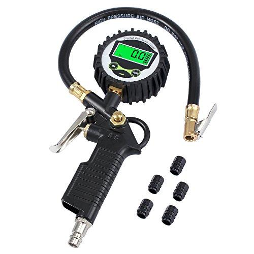 Neoteck Manómetro Digital Medidor de Presión Neumáticos de Manómetro 200 PSI Con La Pantalla LCD y 5 Tapas de Válvula de Plástico Negras para Automóvil,Moto y Bicicleta