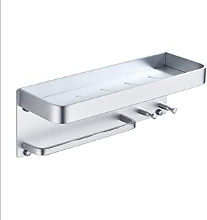 SHYOD Salle de Bain étagère Douche Tablette avec Towel, Aluminium Douche Caddy for shampooing Support de Cuisine Support d...