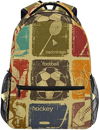 WKLNM Rugzak Retro Sport tennis Soccer Stamp Casual Backpack Student Schooltas Travel Hiking Camping Laptop Daypack