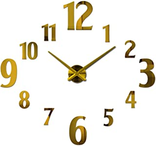 DIY Wall Clock Mirror Wall Sticker Clocks for Bedroom Wall (Color : Golden)