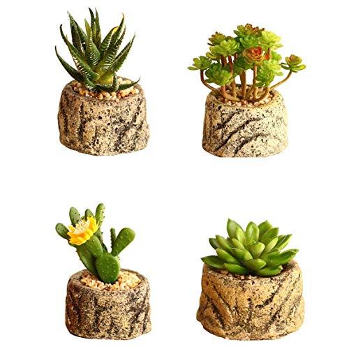 AMITD 4-delige set kunstmatige vetplanten, planten met potten voor huis balkon kantoor decoratie