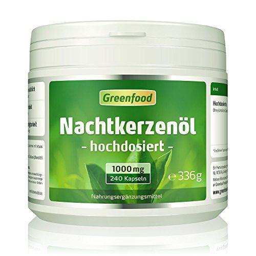 Greenfood Nachtkerzenöl, 1000 mg, hochdosiert, 240 Kapseln – reich an Omega 6 und GLA. OHNE künstliche Zusätze. Ohne Gentechnik.