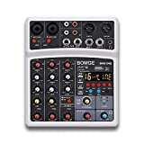 BOMGE Professional 4 Channel DJ Audio Sound Mixer Interface Mixing Console Desktop Karaoke with MP3 Input, USB, Bluetooth Input, Stereo Recording, 48V Phantom Power, 16 Echo/Delay DSP Processor(White)