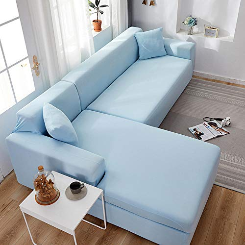 Fsogasilttlv Resistente al Polvo elástica Funda de sofá 3 plazas, Fundas elásticas de Licra, Funda de sofá, Toalla elástica para sofá, Fundas de sofá de Esquina para Sala de Estar, Azul Cielo