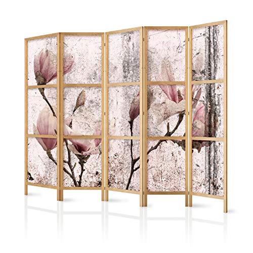 murando - Paravent XXL Blumen Magnolien 225x171 cm 5-teilig einseitig eleganter Sichtschutz Raumteiler Trennwand Raumtrenner Holz Design Motiv Deko Home Office Japan b-C-0389-z-c