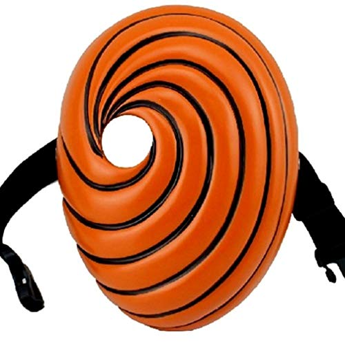 Resin Anime Naruto Akatsuki Tobi Uchiha Obito Naruto Madara Cosplay Halloween Party Prop Mask (24.5cmx18cm) Orange
