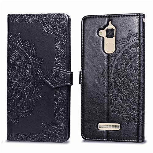 Cover Portafoglio Asus Zenfone 3 Max (ZC520TL) Yunbaozi PU Wallet Case Colore Puro Custodia in Pelle Protettivo Custodia Supporto Funzione con Titolare Slot delle Carte, Nero