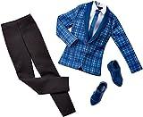 Barbie DHB38 - Ken Kleidung, Mode, Kleider Set, eleganter Anzug mit Hemd, Schlips und Schuhe, Model...