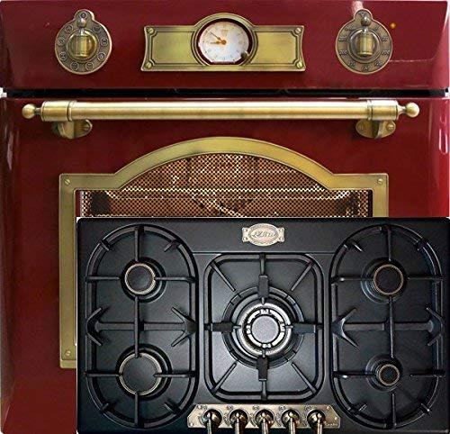 Autark Kaiser Empire/Horno eléctrico EH 6355 RotEm 67L en rojo + placa de gas 90 cm KG 9325 Em en negro 8 funciones/autolimpieza/horno empotrado/horno