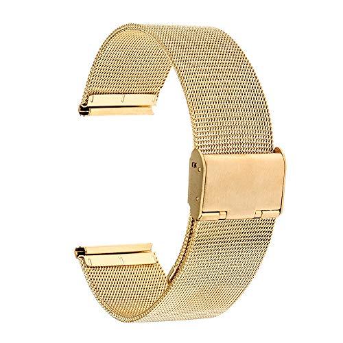 RHBLHQ Universal De Correa 16 Mm 18 Mm 20 Mm 22 Mm 24 Mm De Malla De Acero Inoxidable Reloj De Correa De La Venda Enlace Pulsera Negro De Oro Rosa De Plata (Band Color : Gold, Band Width : 20mm)