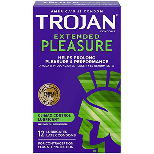 Trojan Extended Climax Control Condoms with Delay Lubricant, 12 Count (Pack of 1)
