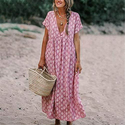 Damen Kleider,Frauen Kleid Boho Blumen Kurzarm Langes Kleid Tunika Loose Beach Holiday Sommerkleid Mädchen Urlaub Elegant Bohemian Beach Maxi Dame Midi Rock Für Alltagskleidung Travel Party, Pink,