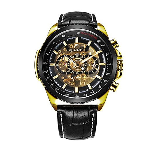 Excellent Relojes para Hombres Reloj automático a Prueba de Agua Reloj de Pulsera mecánica con Correa de Cuero Moda de Hombre Casual Dial único,Oro