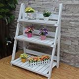 hsj Soporte plegable de 3 capas para macetas de jardín, escalera de madera,...