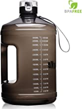 SIuxKe 1 Gallon Big Water Bottle Motivational Fitness Workout with Daily Time Marker  Reusable Leak-Proof   Clear BPA-Free Water Jug   for Indoor Outdoor Camping Hiking Gym Running 128OZ/74OZ Capacity