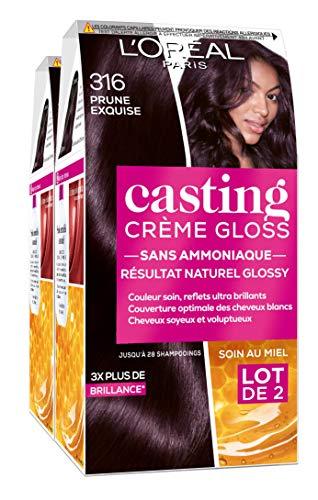 L'Oréal Paris Casting Crème Gloss Coloration Ton sur Ton pour Cheveux - Sans Ammoniaque - Prune Exquise (316)