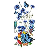 Supperb Temporary Tattoos - Hand drawn Watercolor Painting Bouquet of Summer Flowers butterflies hummingbird (Set of 2)