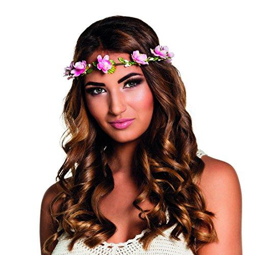 NET TOYS Bandeau de Fleurs - Vert et Rose | Couronne de Fleurs | Bijoux de Cheveux bohèmes | Bijoux de tête Hippie