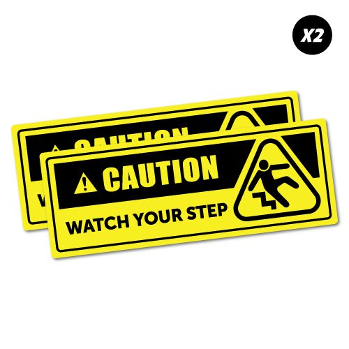 2 x Caution Watch Your Step Sticker Decal Safety Sign Car Vinyl